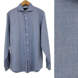 Black Brown Button Up Shirt Cotton Fitted Blue Sm